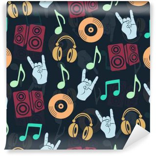 Musical vector background, music accessories seamless pattern. Silhouette drawing colorful headphones, disk CD, plate, loudspeakers, notes and fingers gesture goat a dark Wall Mural - Vinyl