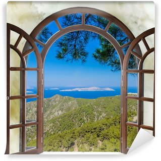 nature landscape with a view through a window with curtains Wall Mural - Vinyl