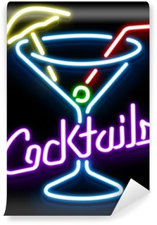 Wall Mural - Vinyl Neon Cocktail Glass