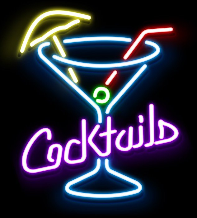 Neon Cocktail Glass Wall Mural Vinyl Pixers 174 We Live