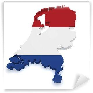 Netherlands Map 3d Shape Wall Mural - Vinyl