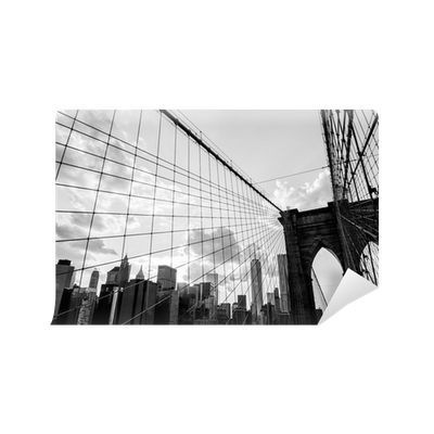 New york city brooklyn bridge skyline black and white for Brooklyn bridge black and white wall mural