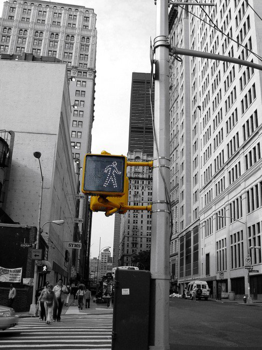 new york en noir et blanc et couleur wall mural - vinyl • pixers