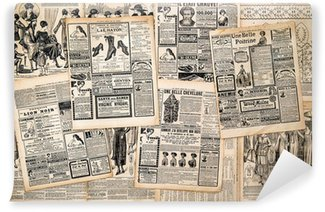 Wall Mural - Vinyl Newspaper pages with antique advertising