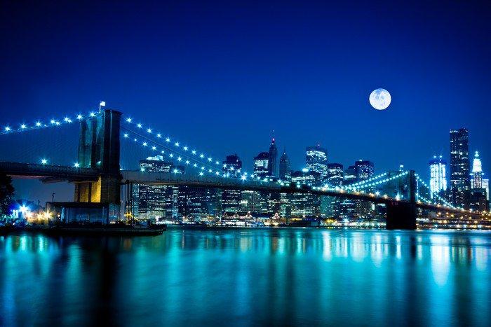 Night Scene Brooklyn Bridge And New York City Wall Mural