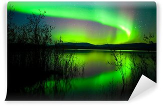 Northern lights mirrored on lake Wall Mural - Vinyl