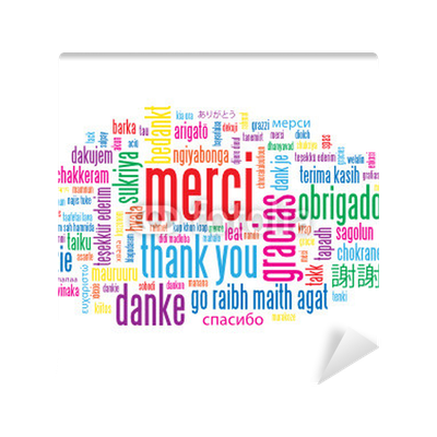 Nuage de tags merci thank you message carte for Thank you mural