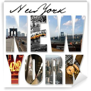 Wall Mural - Vinyl NYC New York City Graphic Montage