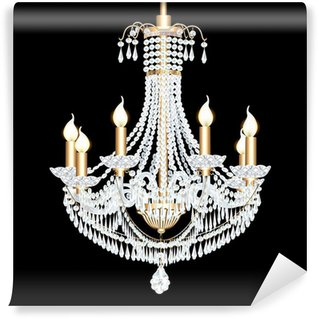 Wall Mural - Vinyl of a crystal chandelier antique with pendants