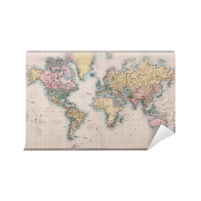 Old antique world map on mercators projection wall mural for Antique world map wall mural