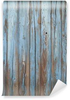 old blue wood wall Wall Mural - Vinyl