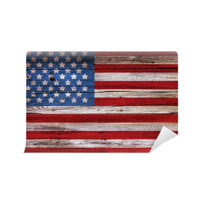 Old painted american flag on dark wooden fence wall mural for American flag wall mural