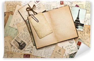 Wall Mural - Vinyl old papers, french post cards and open diary book