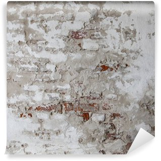 Old Red Brick Wall with Cracked Concrete Wall Mural - Vinyl