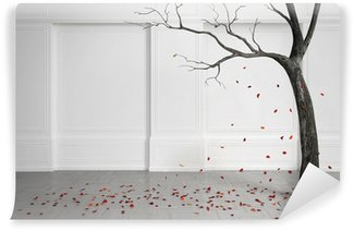 Old tree with falling leaves in a white room. Wall Mural - Vinyl