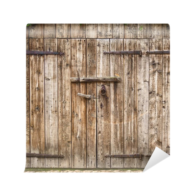 Old weathered barn door wall mural vinyl pixers we for Barnyard wall mural