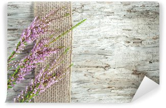 Old wooden background with heather and sacking ribbon Wall Mural - Vinyl