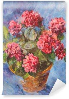 Oli painting of pink hydrangea Wall Mural - Vinyl