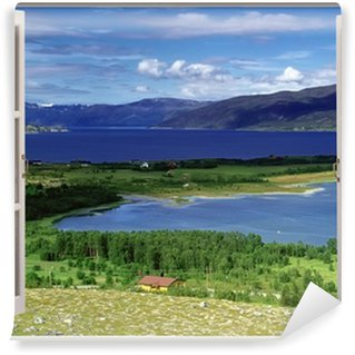 Open window view to landscape with river, hills and fields Wall Mural - Vinyl