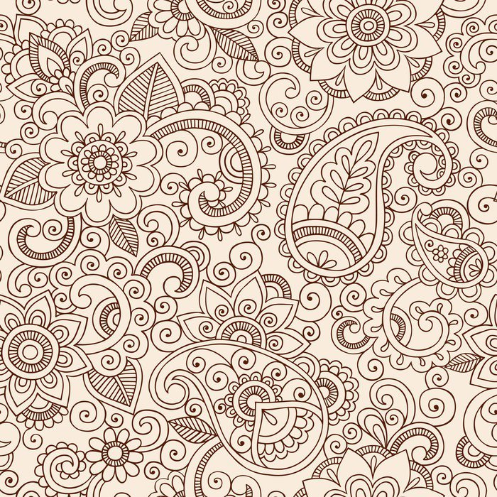 Ornate henna paisley pattern doodle vector design vinyl for Mural vector
