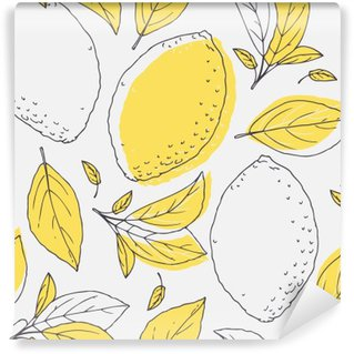 Vinyl Wall Mural Outline seamless pattern with hand drawn lemon and leaves. Doodle fruit for package or kitchen design