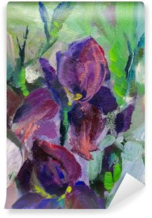 painting still life oil painting texture, irises impressionism a Wall Mural - Vinyl