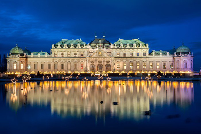 Palace Belvedere with Christmas Market in Vienna, Austria