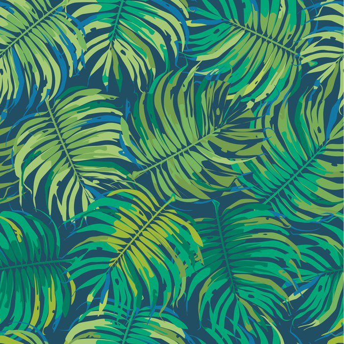 Palm leaves tropic seamless vector pattern wall mural for Mural vector