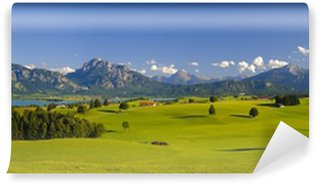 Vinyl Wall Mural panorama landscape in Bavaria with alps mountains