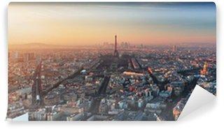 Wall Mural - Vinyl Panorama of Paris at sunset