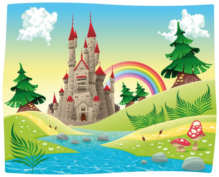 Panorama with castle cartoon and vector illustration for Mural vector