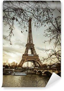 Wall Mural - Vinyl Parigi Tour Eiffel Tramonto