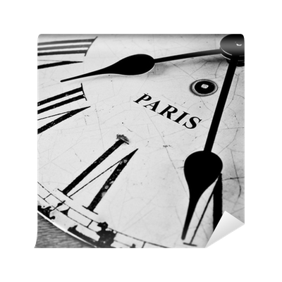 Paris black and white clock face wall mural pixers we for Black and white paris wall mural