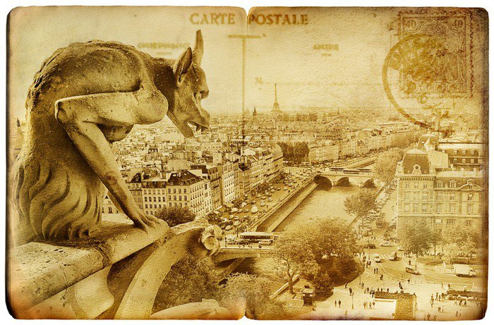 Wall Mural   Vinyl Parisian Vintage Card  Notre Dame   European Cities