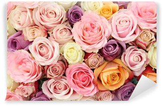 Pastel wedding roses Wall Mural - Vinyl