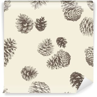 Wall Mural - Vinyl pattern of the pinecones