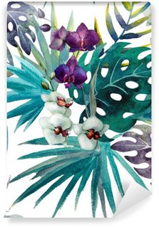 pattern orchid hibiscus leaves watercolor tropics Wall Mural - Vinyl