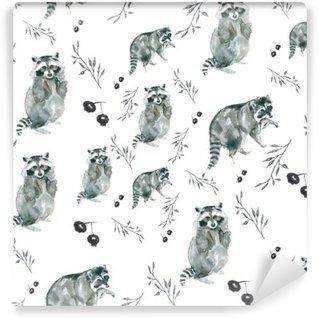 pattern raccoons. Raccoons and small branches, berries. Watercolor Wall Mural - Vinyl