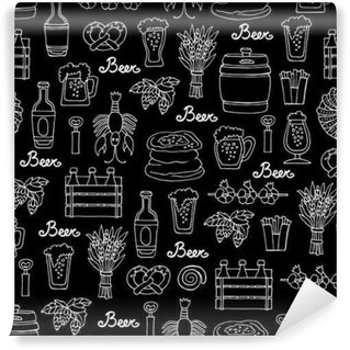 Pattern with hand drawn bottle and glass of beer, snacks in sketch style. Pattern on the theme of beer on black color