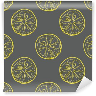 Vinyl Wall Mural Pattern with lemon slices on gray background.