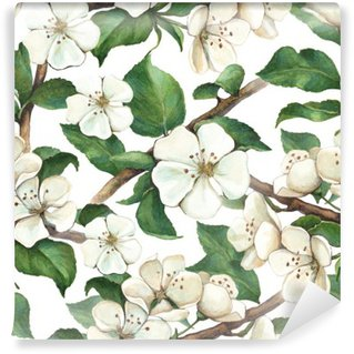 Pattern with watercolor apple flowers