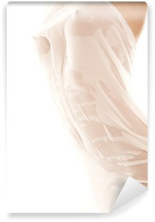Wall Mural - Vinyl Photo of nude female body with fabric