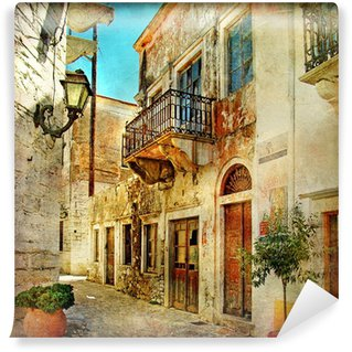 Vinyl Wall Mural pictorial old streets of Greece