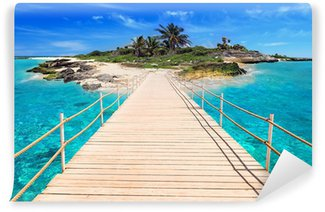 Pier to the tropical island of Caribbean Sea Wall Mural - Vinyl
