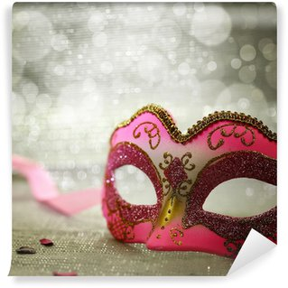 Wall Mural - Vinyl Pink carnival mask with glittering background