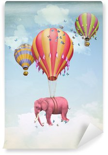 Wall Mural - Vinyl Pink elephant in the sky with balloons. Illustration