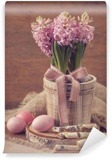 Pink hyacinths and easter eggs Wall Mural - Vinyl