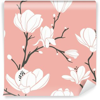 pink magnolia pattern Wall Mural - Vinyl