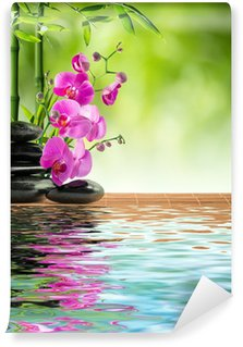 Wall Mural - Vinyl pink orchid black stone and bamboo on water