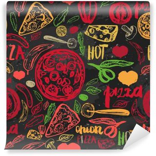 Pizza hand drawn seamless pattern with olives, words, tomatoes and slices on dark background for banners, wrapping paper.
